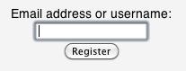 Register interface of Instapaper